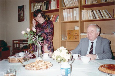 35-lecia Oddziału Poznańskiego Archiwum PAN - maj 1991 r. Na zdjęciu od lewej: dr Anna Marciniak - kierownik Oddziału APAN, dr Jagielski - dyr. APAN w Warszawie