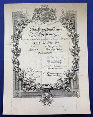 Dyplom łotewskiego Krzyża Komandorskiego Orderu Trzech Gwiazd (1937) po konserwacji